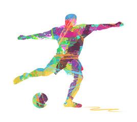 silhouette di calciatore composto da colori