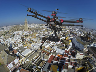 Drone flying over the roofs of Seville