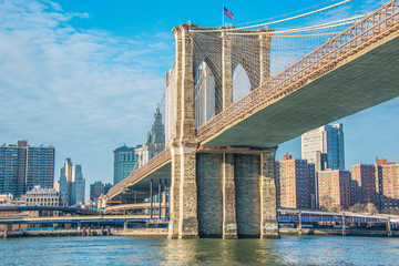Printed roller blinds Brooklyn Bridge Brooklyn bridge in New York on bright summer day