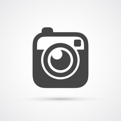Trendy flat Hipster camera photo icon