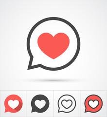 Heart in speech bubble icon. Vector
