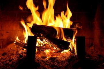 Closeup of indoor fireplace