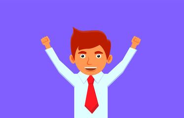 Happy businessman with raised fists