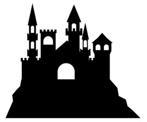 Silhouette of castle in white background