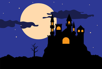 Silhouette of castle at night