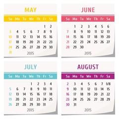 calendar may june july 2015