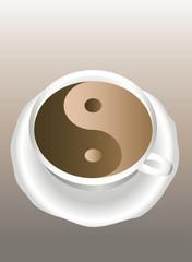 Yin Yang. A cup of coffee