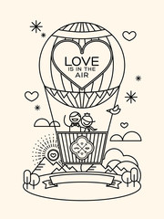 Modern wedding groom and bride pictogram in hot air balloon