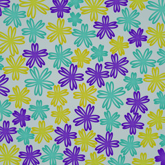 Abstract colored flowers on a gray background