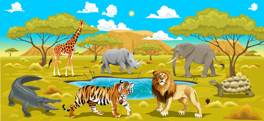 African landscape with animals.