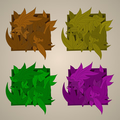 Vector stylized ornament in the shape of leaves,
