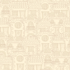 Vector pattern with cartoon, hand drawn houses