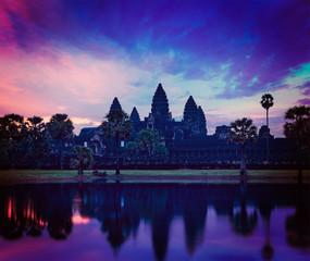 Wall Mural - Angkor Wat - famous Cambodian landmark on sunrise