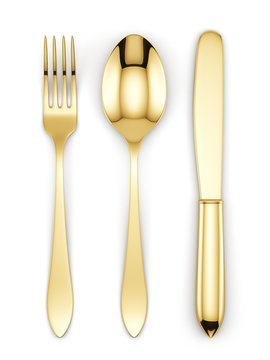 Golden fork, spoon and knife