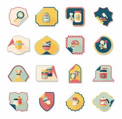 Kitchenware sticker flat banner background set, eps10
