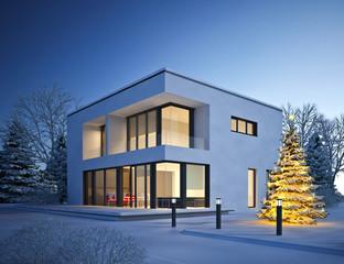Haus Kubus im Winter