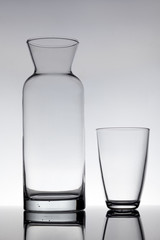 empty glass and a carafe