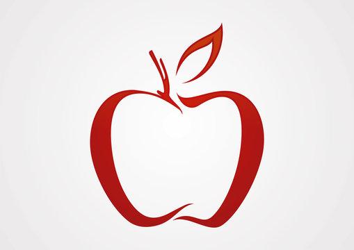 Apple line red illustration logo vector