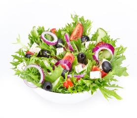 Fresh tasty salad over white
