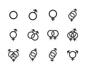 Vector black Sexual orientation icons se