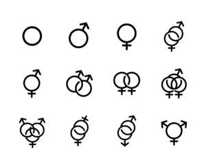 Fototapeta Vector black Sexual orientation icons se