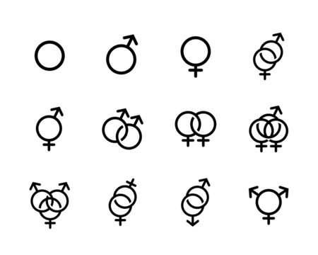Vector black Sexual orientation icons se