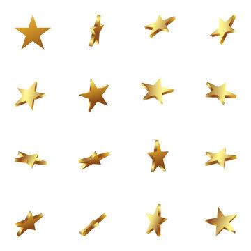 Sterne, Goldsterne, goldene Sterne, Set, 3D, golden, Star, Gold