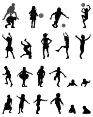 Black silhouettes of children playing, vector