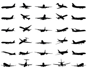 Different black silhouettes of airplane 2, vector
