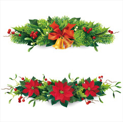 Christmas garlands on white. Vector