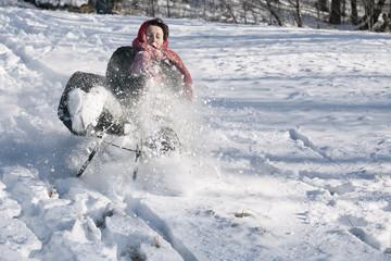 Adult woman sliding