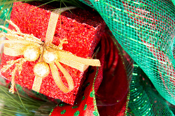 Christmas decorations - present box and ribbon