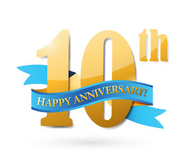 10th anniversary ribbon sign illustration