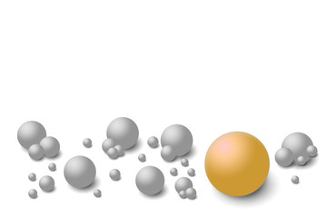 Grey balls on the white background