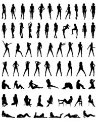 Black silhouettes of beautiful and sexy girls, vector