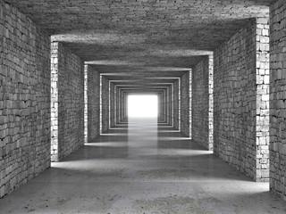 Kamienny tunel 3D z wpadającym światłem