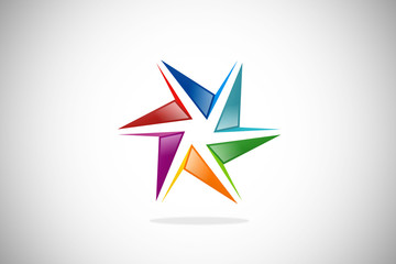 abstract shape star colorful design logo