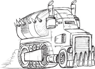 Armored Truck Vehicle Sketch Vector Illustration Art