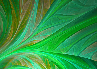 Abstract green fractal leaf Wall mural
