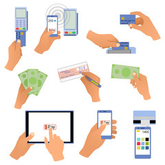 All for business payments human hands holding credit cards, POS