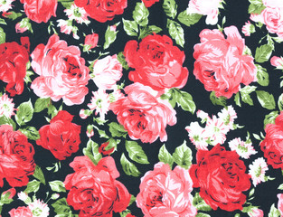 Fabric roses wallpaper