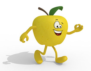 yellow apple with arms, legs and face cartoon