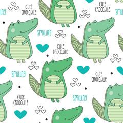cute crocodile pattern vector illustration