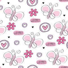 butterfly with flower pattern vector illustration