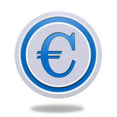 Euro circular icon on white background