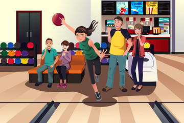 Young people at bowling