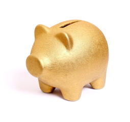 Golden piggy bank from front side left