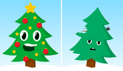 Two Christmas trees one happy one sad after xmas