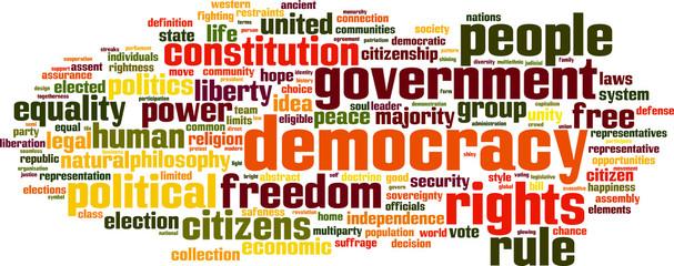 Democracy word cloud concept. Vector illustration