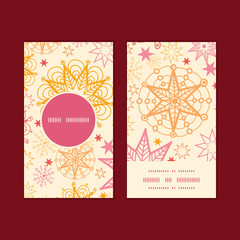 Vector warm stars vertical round frame pattern business cards